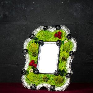 Specchio Ferai con cornice in vetro di Murano