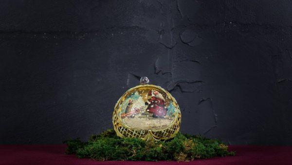 Palla di Natale in vetro di Murano - Capanna di Natale